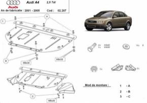Scut motor  frontal Audi A4 2 2001 - 2005 (ptr. motorizari v6)