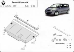 Scut motor Renault Espace IV, motorizare  1.6,1.8,1.9dCi,2.0dCi,2.2dCi,3.0V6, fabricat dupa 2001