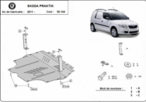 Scut motor  Skoda Praktik, Motorizare 1.2, 1.4, 1.9 Tdi, fabricat dupa 2011